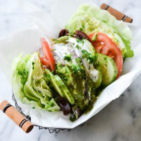Greek Burger Lettuce Wraps with Mediterranean Chimichurri