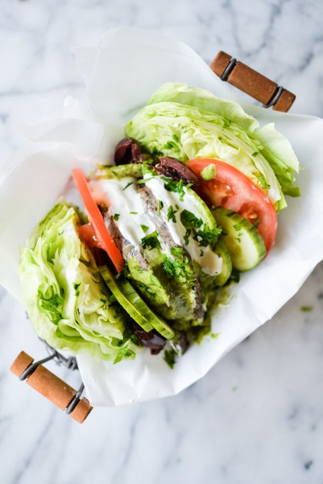 greek burger lettuce wraps with mediterranean chimichurri