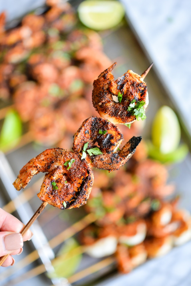 blackened shrimp skewers