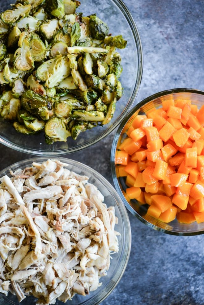 Shredded Chicken, Butternut Squash, and Roasted Brussels Sprouts