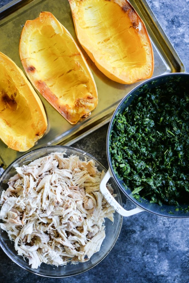 meal prep spaghetti squash, shredded chicken and spinach