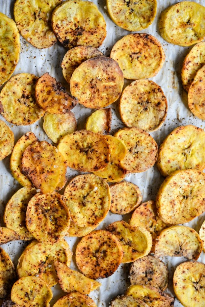 Chili Lime Oven Baked Plantain Chips