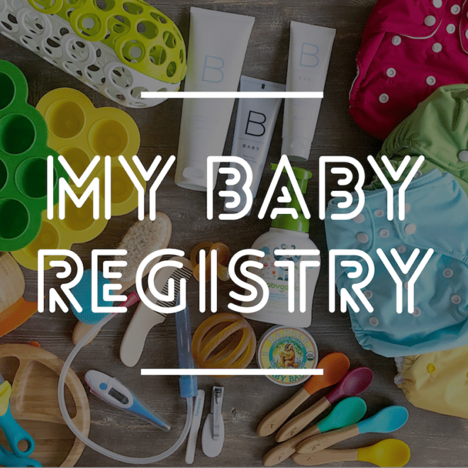 """image of baby products with """"my baby registry"""" written on top"""