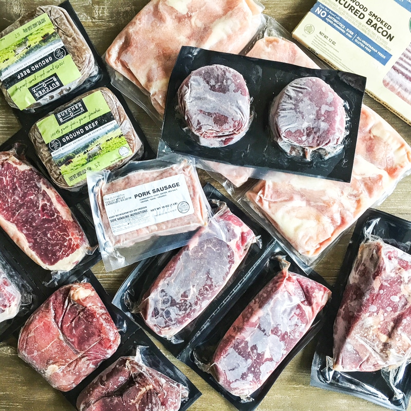 assorted frozen Butcherbox grass fed meat