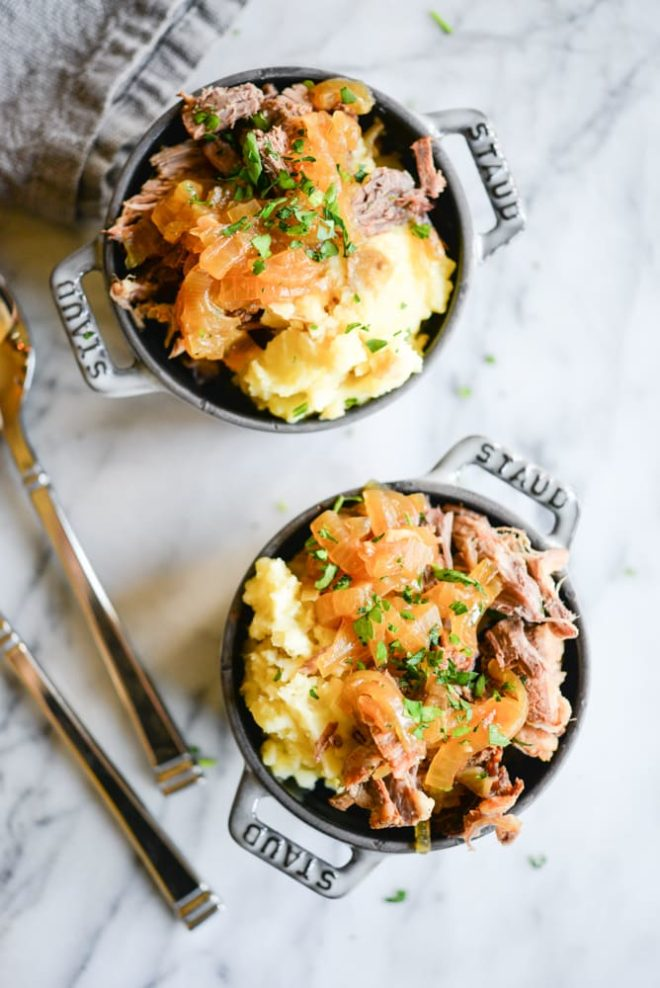 Instant Pot French Onion Pot Roast with Mashed Potatoes