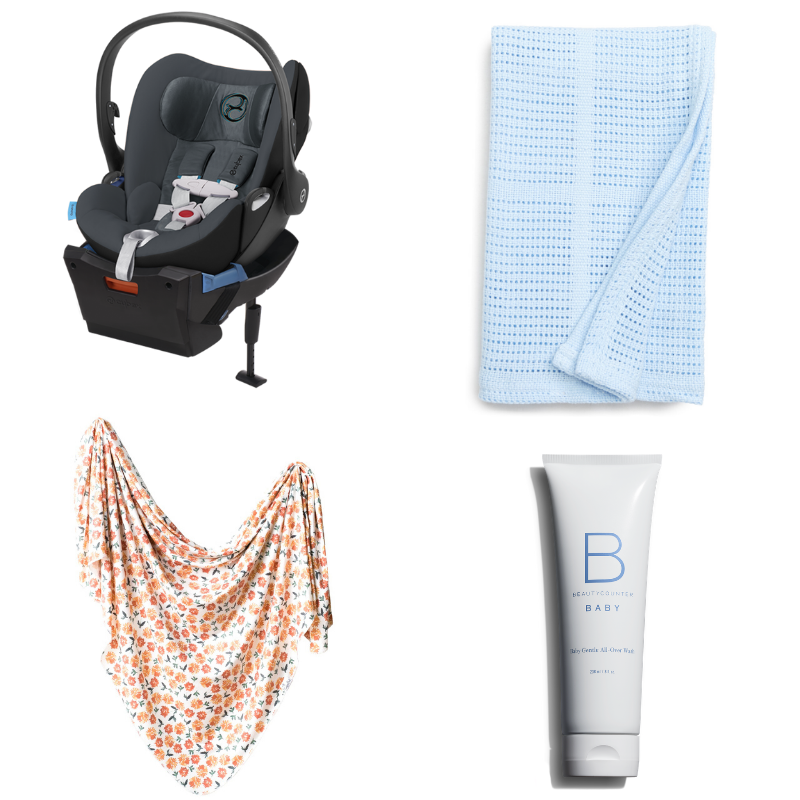 hospital bag essentials for baby - baby wash, blanket, swaddle, and carseat