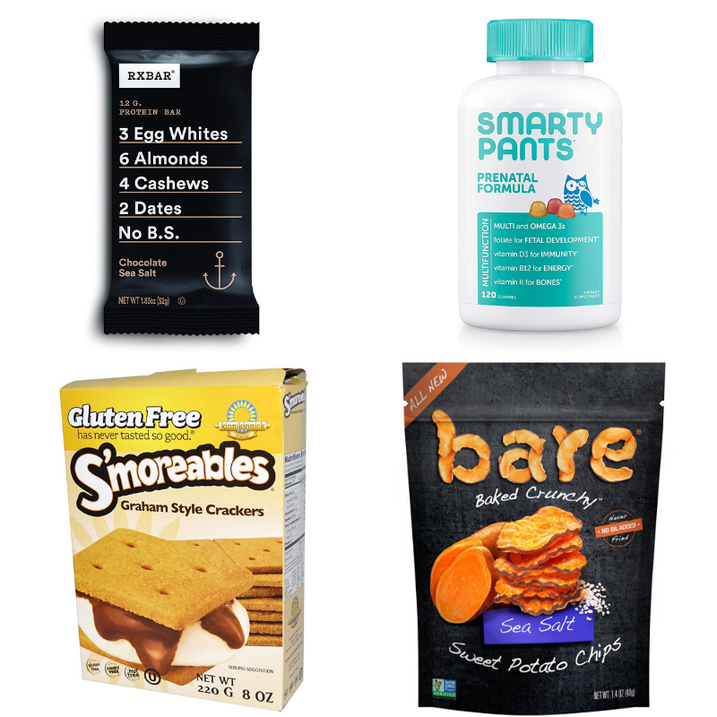 snacks for hospital bag including protein bars, prenatal vitamins, graham crackers, and sweet potato chips