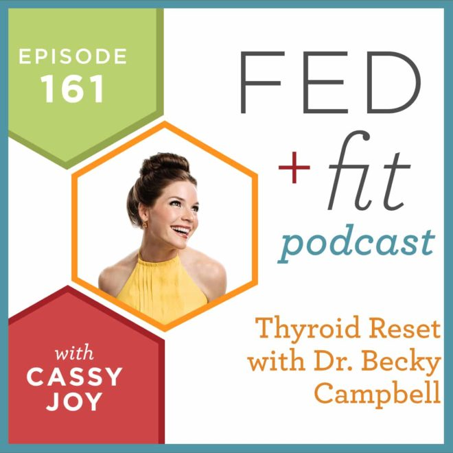 Fed and Fit podcast graphic, episode 161 thyroid reset with dr. becky Campbell with Cassy Joy