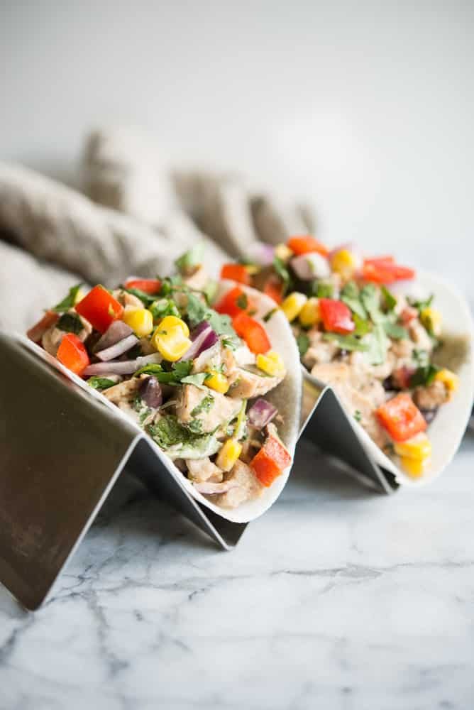 Southwestern Chicken Salad with Jicama Tortillas