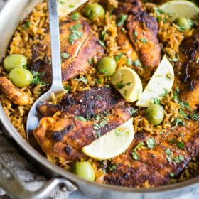 Moroccan Chicken & Rice Skillet