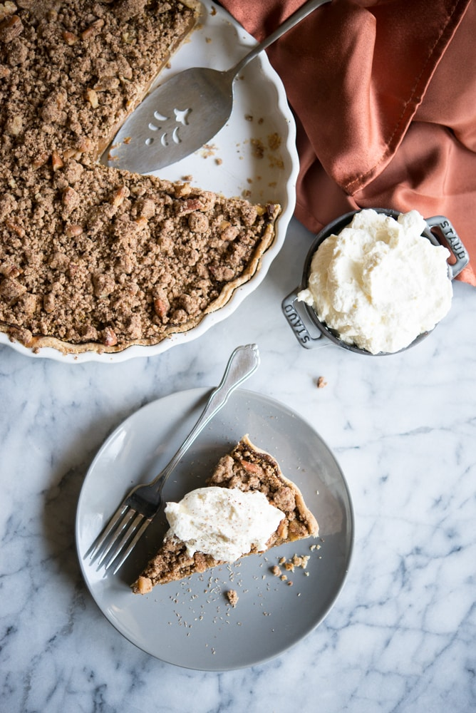 overhead view of Egg-Free Pumpkin Pie with cinnamon crumble topping
