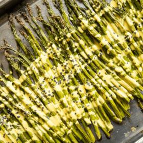 Roasted Asparagus with Lemon Cardamom Sauce