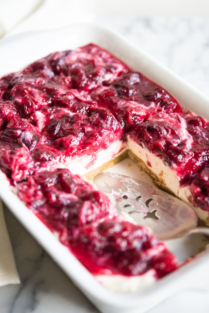No-Bake Cranberry Cheesecake Bars