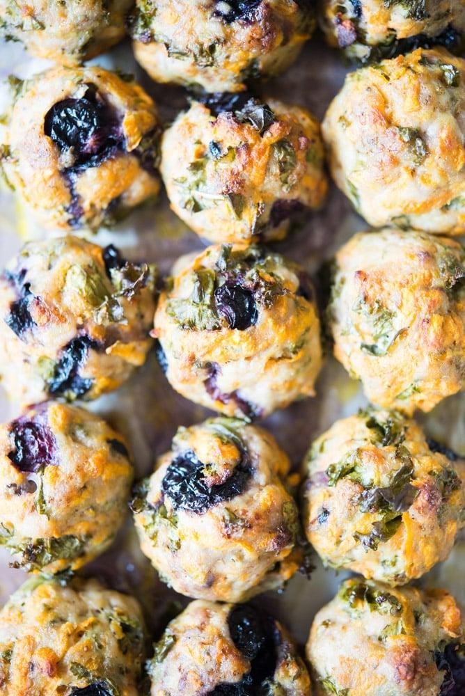 Blueberry sweet potato breakfast meatballs