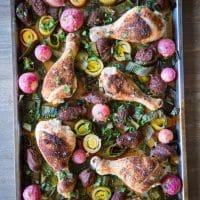 overhead view of chicken chorizo sheet pan dinner