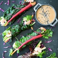 Thai Chard Shrimp Wraps with Peanut Sauce