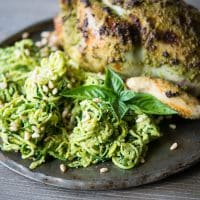 Fennel Pesto Chicken and zucchini spaghetti