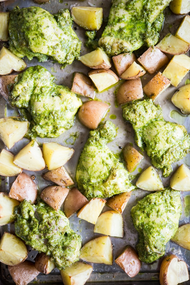 Pesto Chicken Potato sheet pan dinner