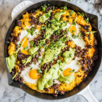 grits and chorizo breakfast skillet