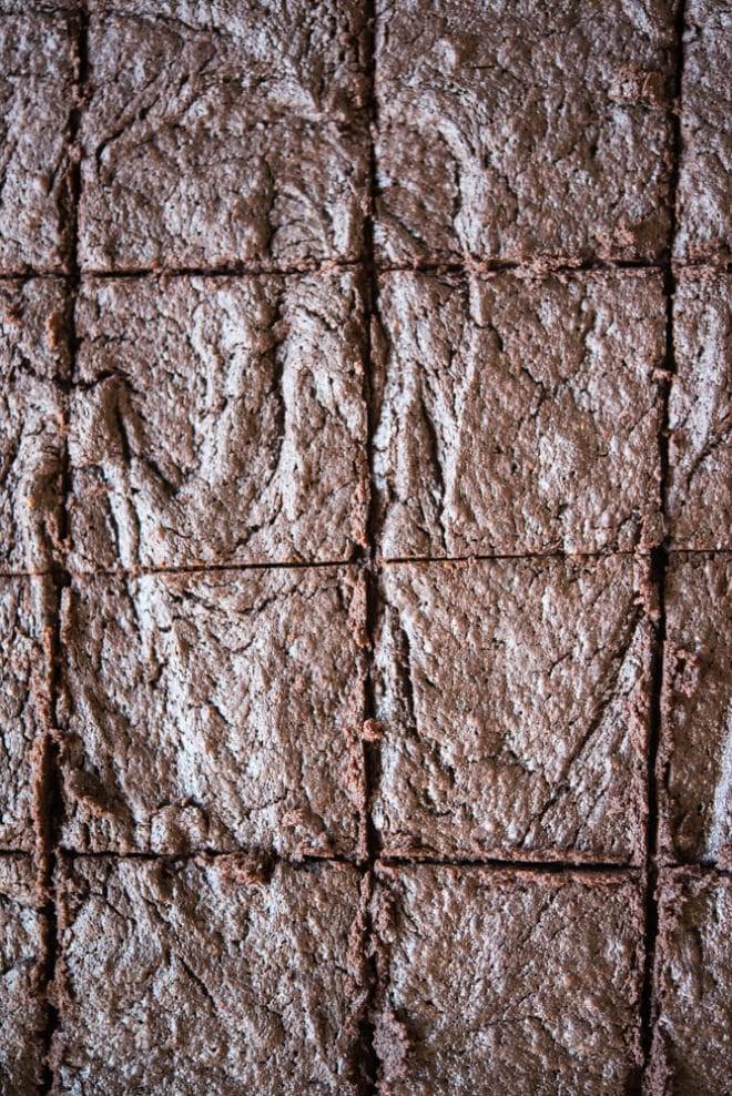 flourless dark chocolate brownies cut into squares