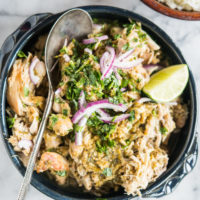 Instant pot salsa chicken with red onions and cilantro