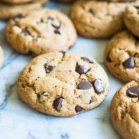 paleo chocolate chip cookies on a marble board