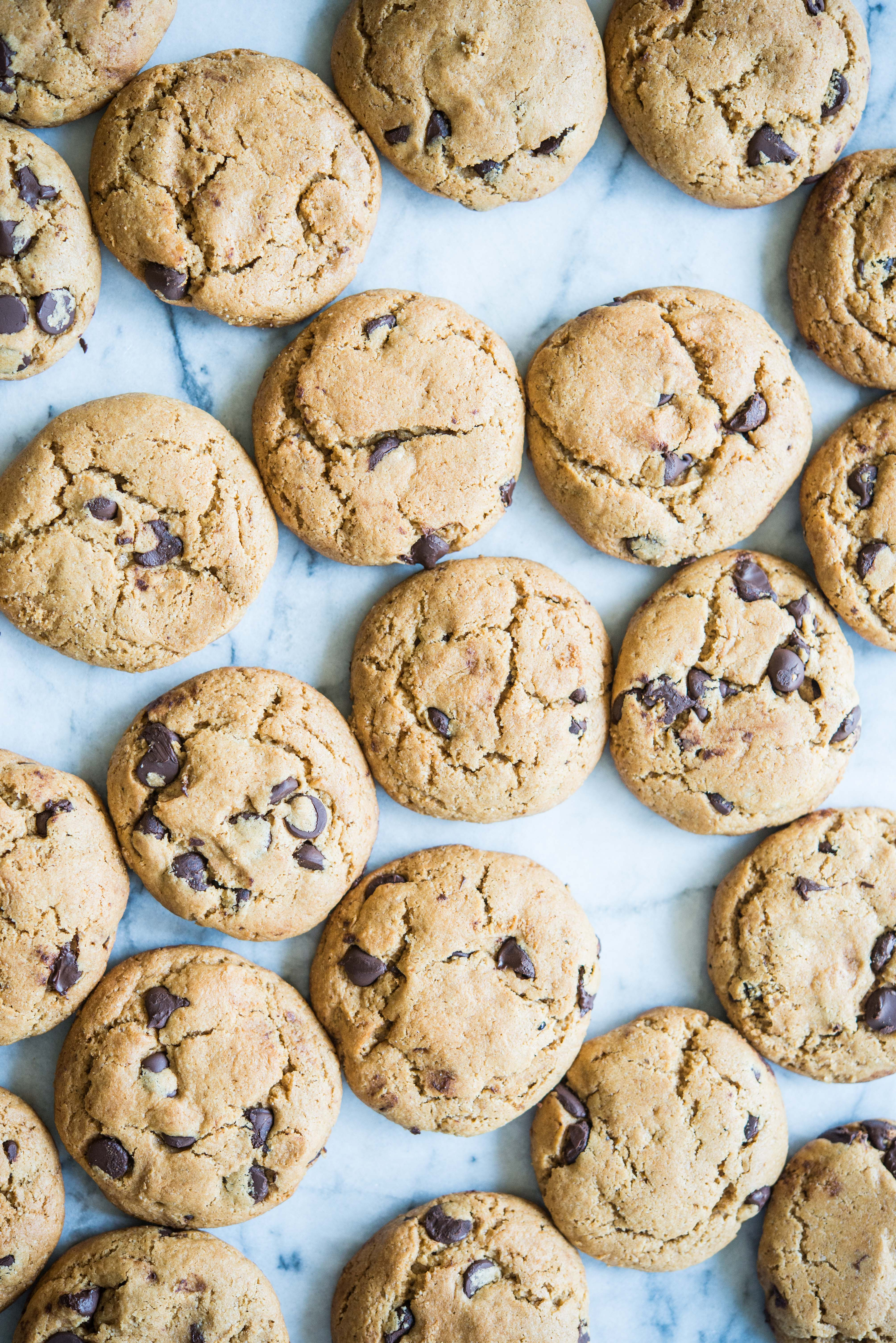 paleo almond flour chocolate chip cookies on a marble board