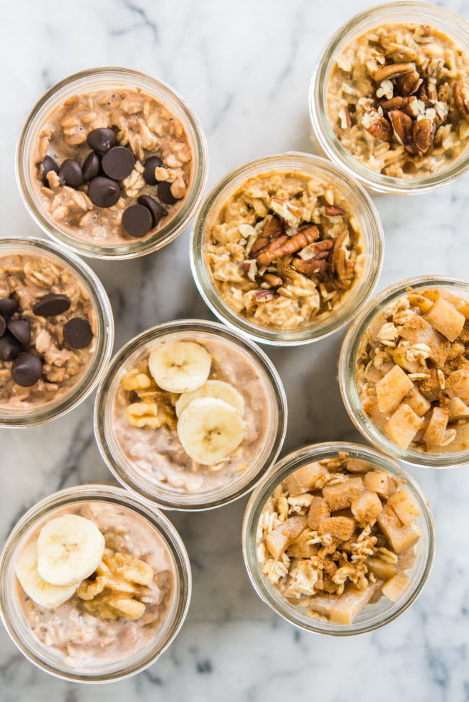 meal prep breakfast recipes - 5 healthy overnight oats recipes