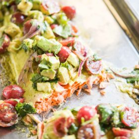 Cilantro Lime Salmon Bake with Tomato Avocado Salsa