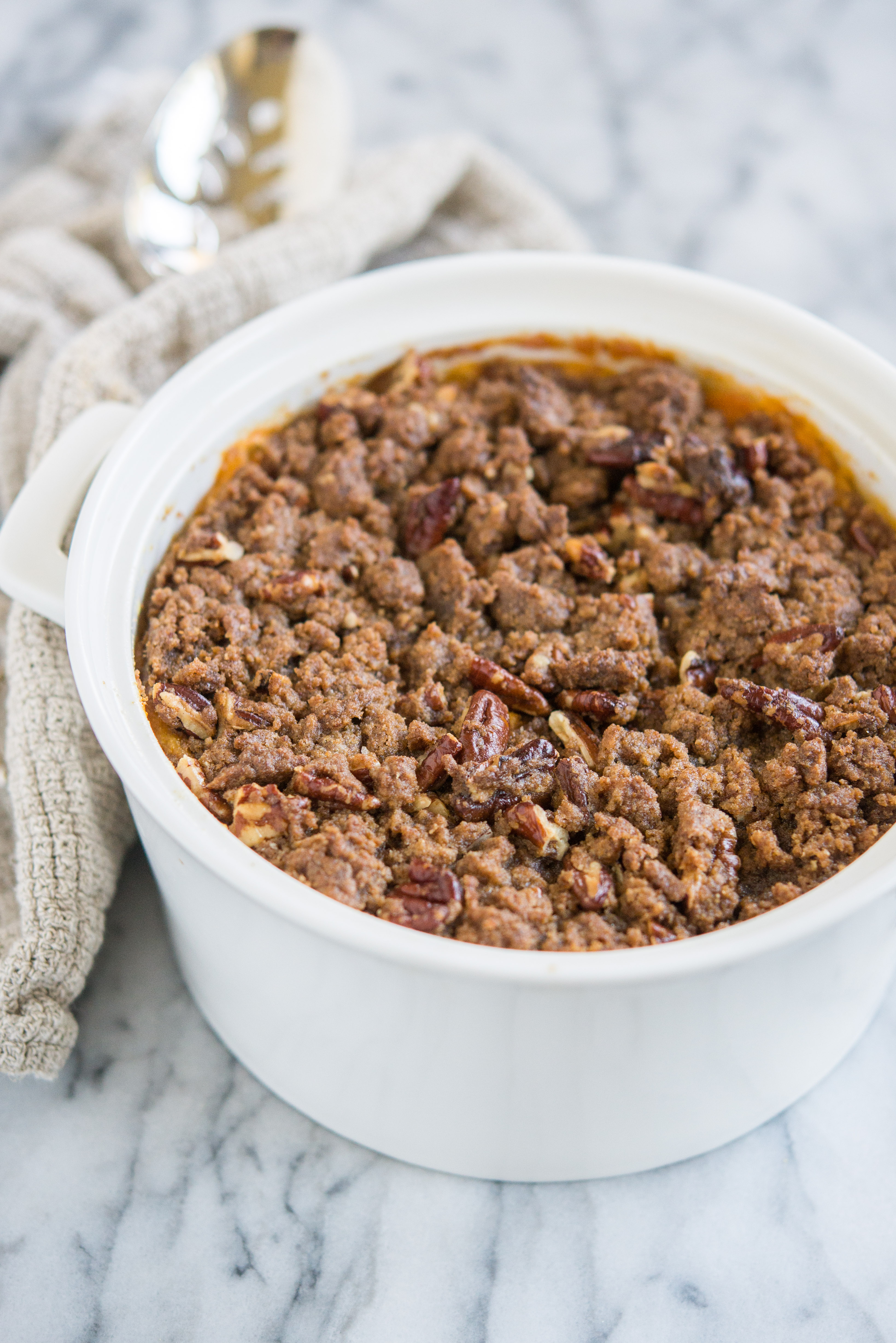 gluten free sweet potato casserole with pecan topping