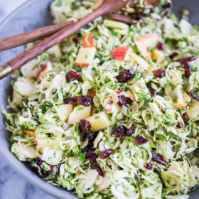 Shredded Brussels Sprouts Salad with Apple Cider Vinaigrette