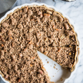 Egg-Free Pumpkin Pie with Cinnamon Crumble Topping