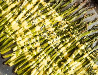 roasted asparagus with lemon cardamom sauce