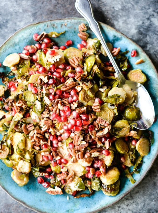 roasted brussels sprouts and pomegranate slaw