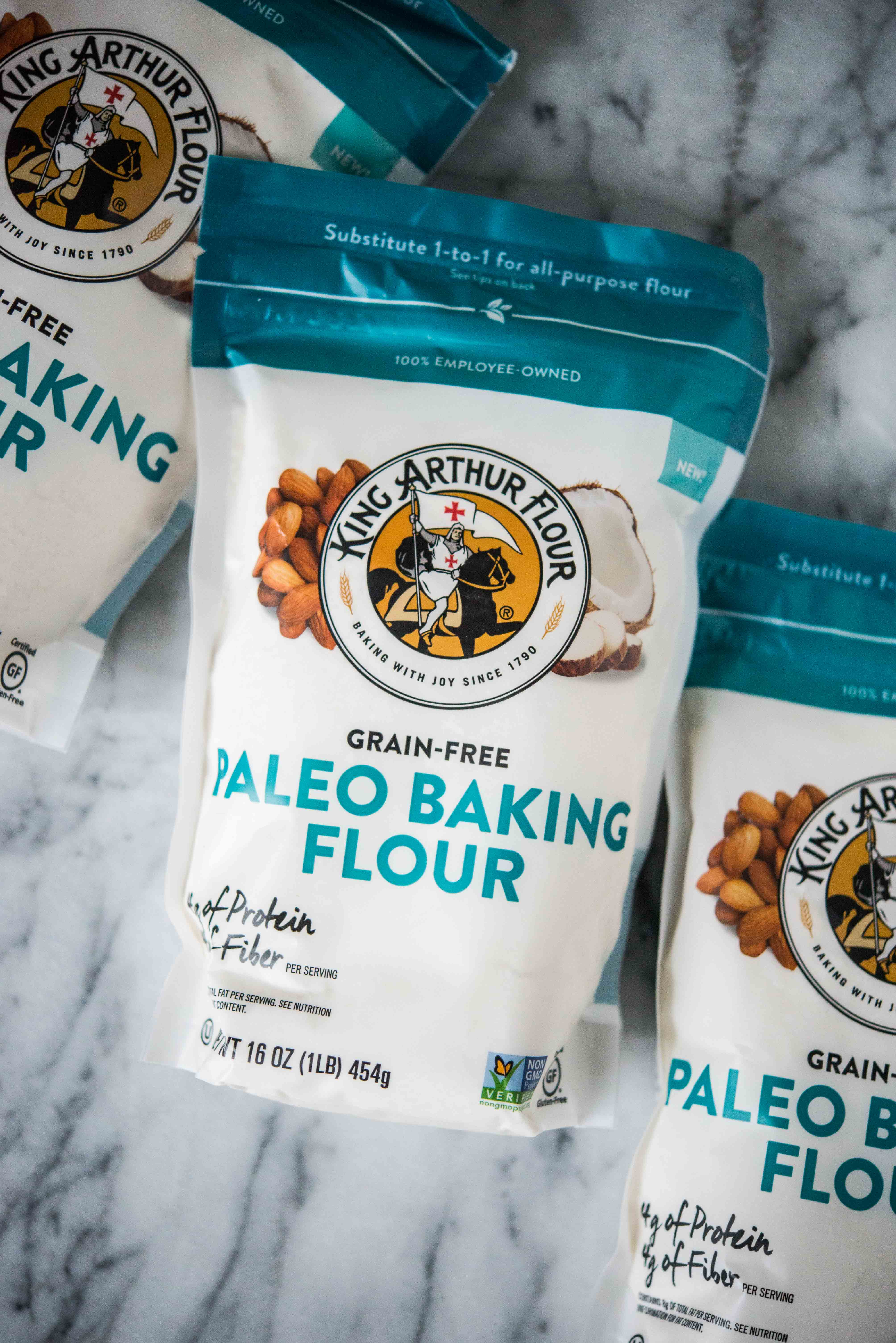 bags of king arthur paleo baking flour on a marble surface