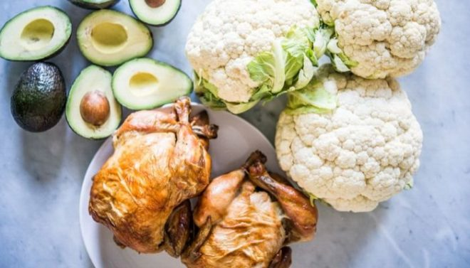 meal prep ingredients - roast chicken, cauliflower, and avocados