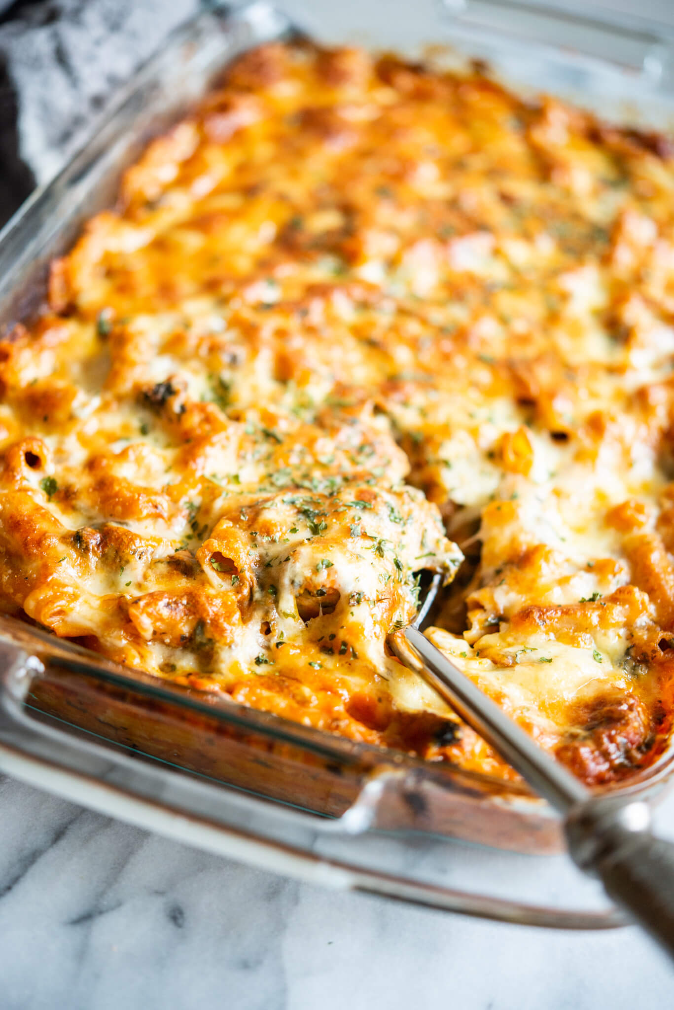 no boil pasta bake with sausage and spinach