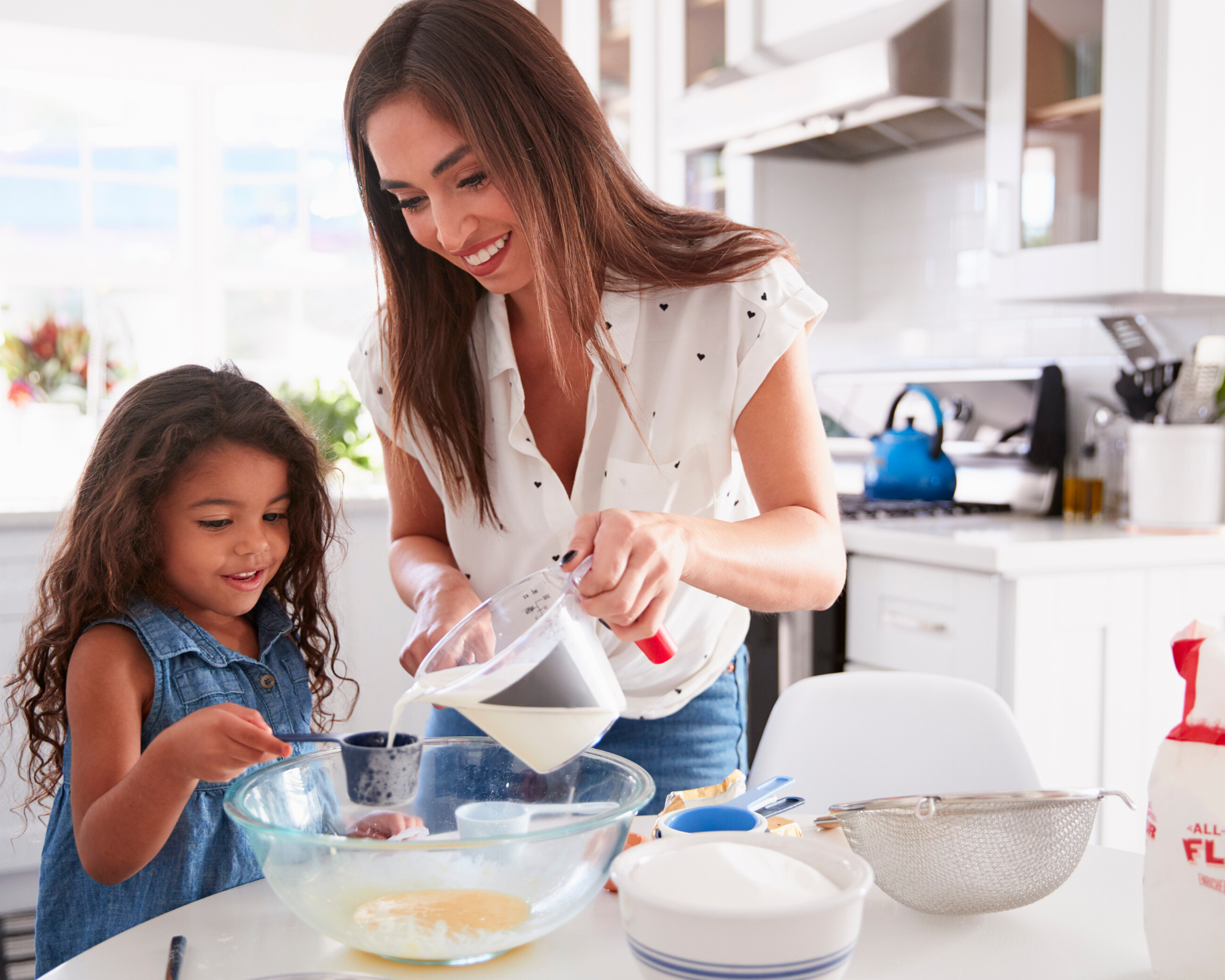 activities for adults and kids - mom and daughter baking