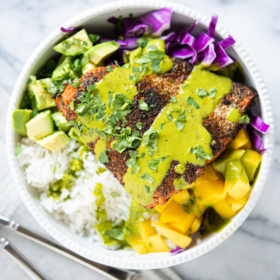 Blackened Salmon Bowls with Coconut Rice