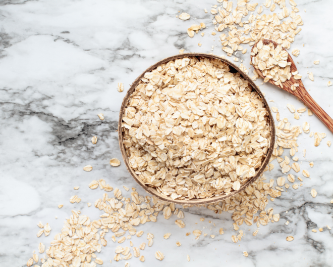 oats in a bowl on a marble surface