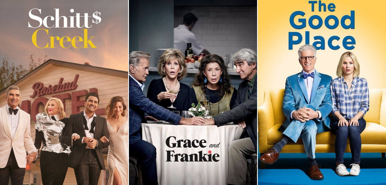 3 tv show posters - schitts creek, grace and frankie, and the good place