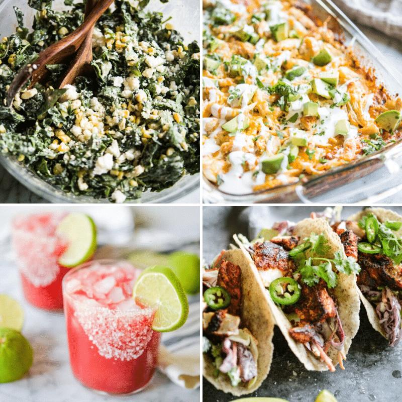 street corn + kale slaw, easy chicken enchilada casserole, ginger beet margaritas, and blackened fish tacos