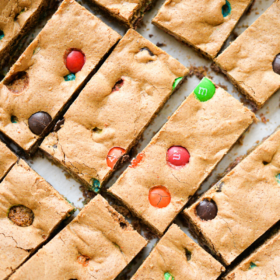Soft & Chewy M&M Cookie Bars