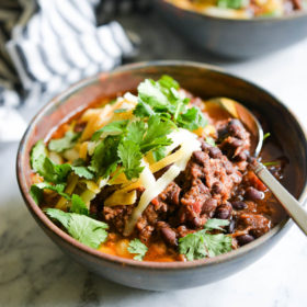 Slow Cooker Chili with Shredded Beef & Beans