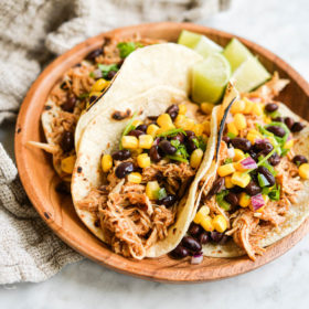 Easy BBQ Chicken Tacos with Black Bean and Corn Salsa