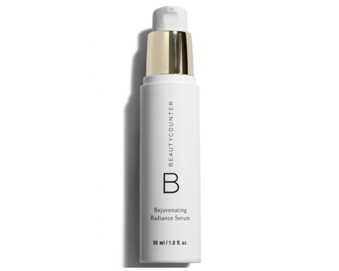 beautycounter rejuvinating radiance serum in a white and gold bottle