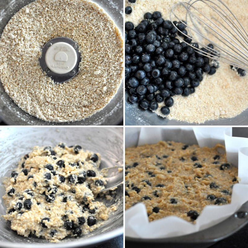 Stepwise photos of paleo blueberry scones: cashew flour in food processor, dry ingredients with a pile of blueberries on top, all ingredients mixed together, and the batter pressed into a parchment lined round metal pan