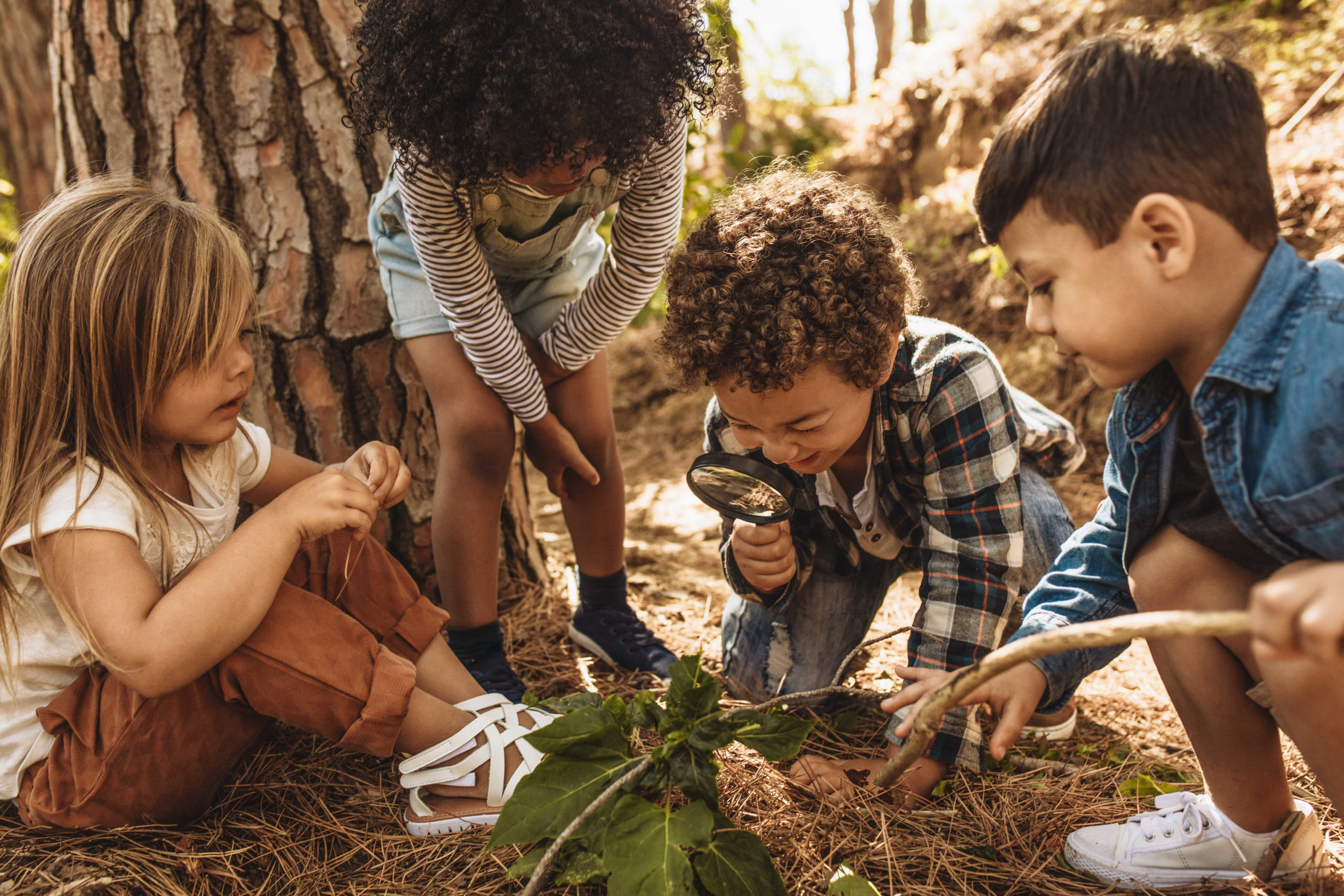 four kids exploring nature, one boy holding a magnifying glass