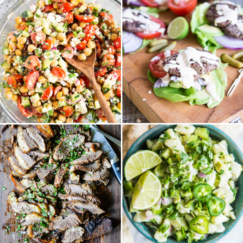 4 easy summer dinners - Mediterranean Chickpea Salad, Grilled Lettuce Wrapped Burgers, Chipotle BBQ Brisket, and Fish Ceviche Ver