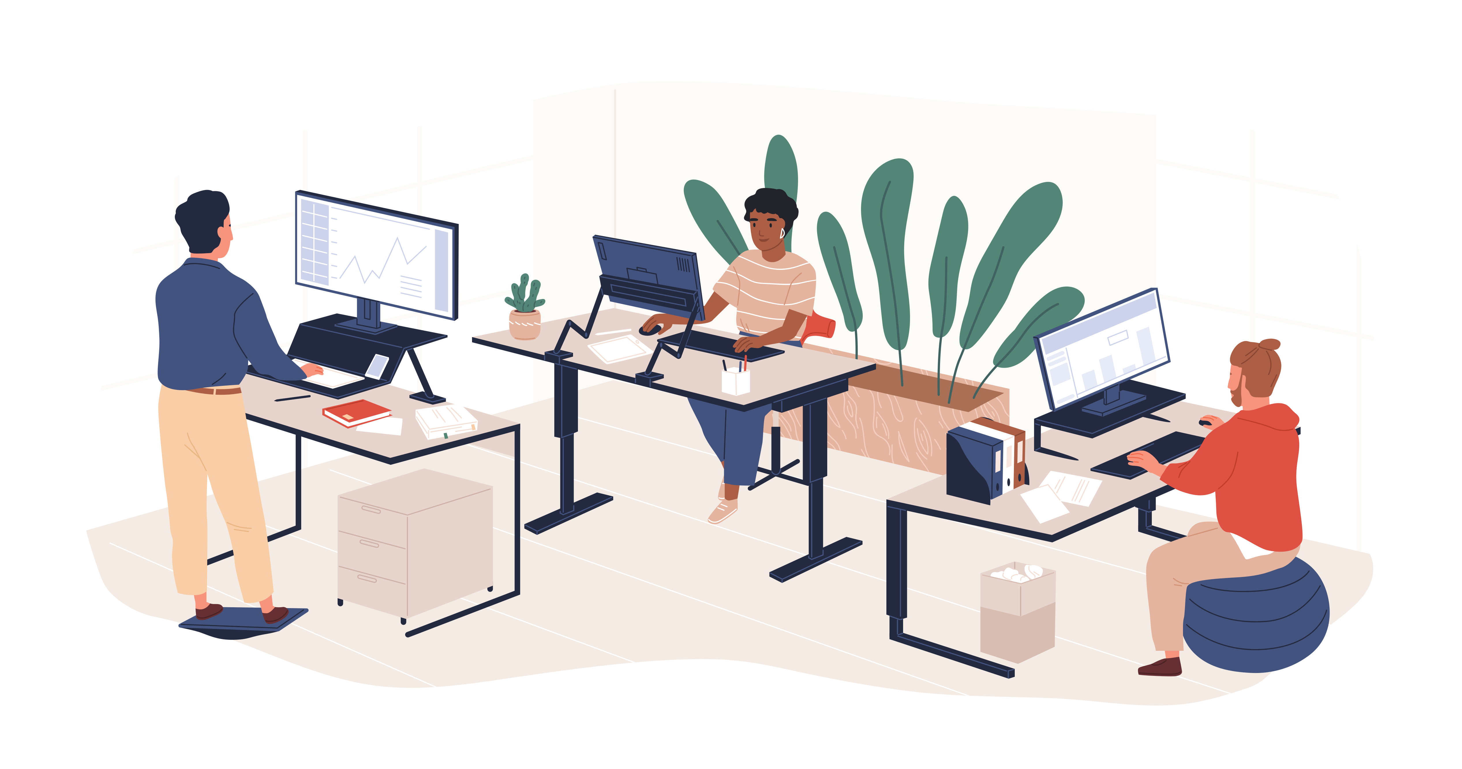 illustration of people working at desks - two sitting at desk and one at standing desk